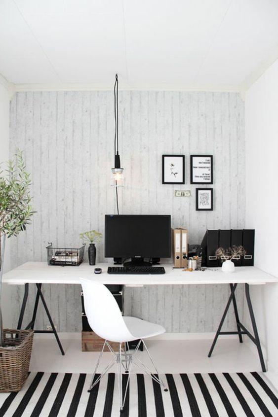 Laminatboden, Holz Wandpaneele und Teppich in Kies Optik