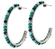 J269443 - Carolyn Pollack Changing Seasons Sterling Bead Hoop Earrings