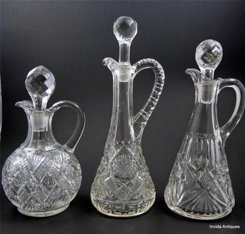 Lot of 3 EAPG Clear Diamond Sunburst Glass Cruets Oil Vinegar Bottles & Stoppers