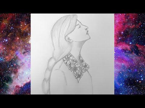 تعليم الرسم بالرصاص رسم فتاة من الجانب How To Draw A Cute Girl Face Drawing Pencil Sketch Hair Draw Youtube Youtube Art Funny Drawings Art