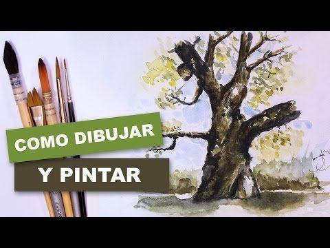 Como Pintar Facil Un Arbol Con Acuarela Youtube Con Imagenes