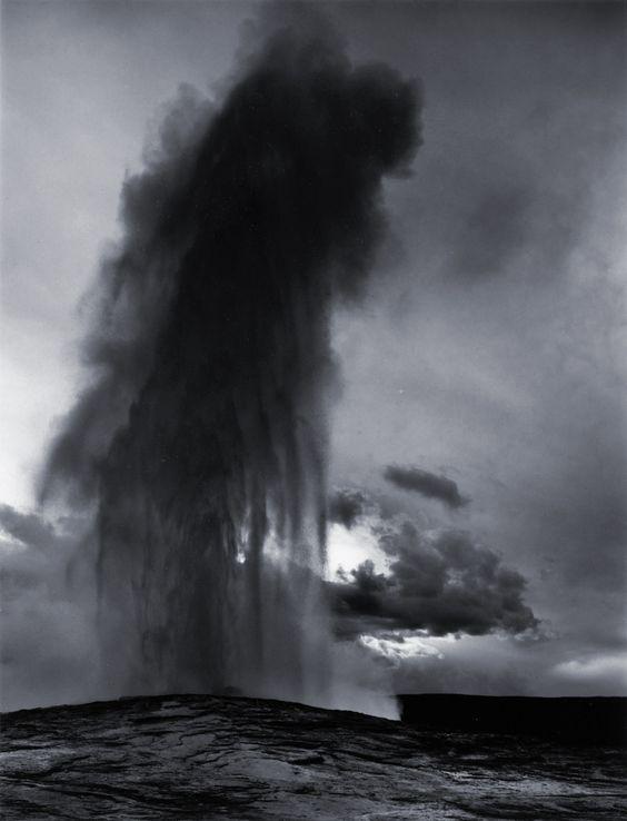 Ansel Adams, Old Faithful Geyser, Late Evening, Yellowstone National Park, Wyoming. 1942