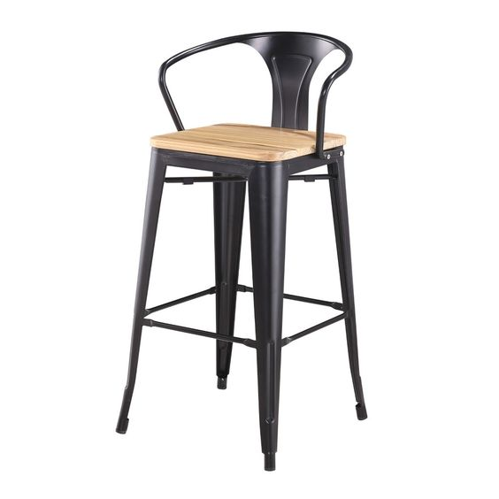 tabouret de bar style tolix avec accoudoir - 65cm ? meuble wazo ... - Chaise De Bar Tolix