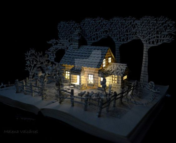 House in a Field Book Sculpture by MalenaValcarcel.deviantart.com on @DeviantArt