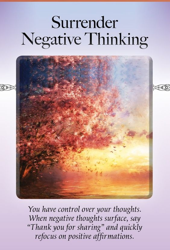 "The Power of Surrender Oracle ~Surrender Negative Thinking ,You have control over your own thoughts .When a negative thought surfaces say ""Thank you for sharing "" and quickly refocus on positive affirmations. #oraclecards #affirmations #positivity #spirituality #2019"