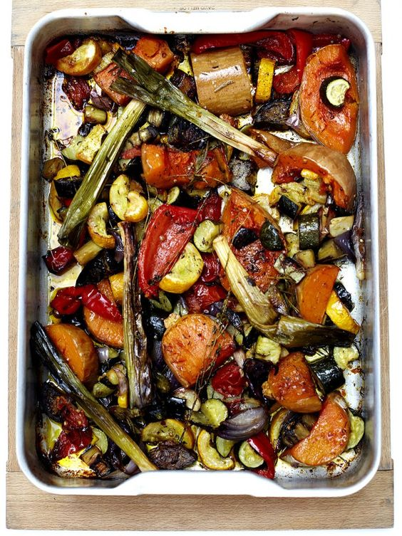 Jamie Oliver's simple roasted vegetables recipe you can use with any vegetables.  Recipe suggests coriander, rosemary and thyme for herbs!