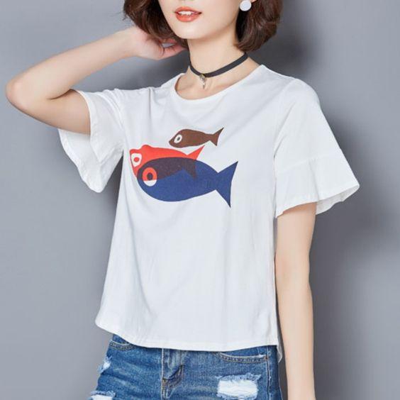 tee shirt femme fish print New summer T-shirts plus size women clothing Flare sleeve loose tshirt ladies t shirt T084