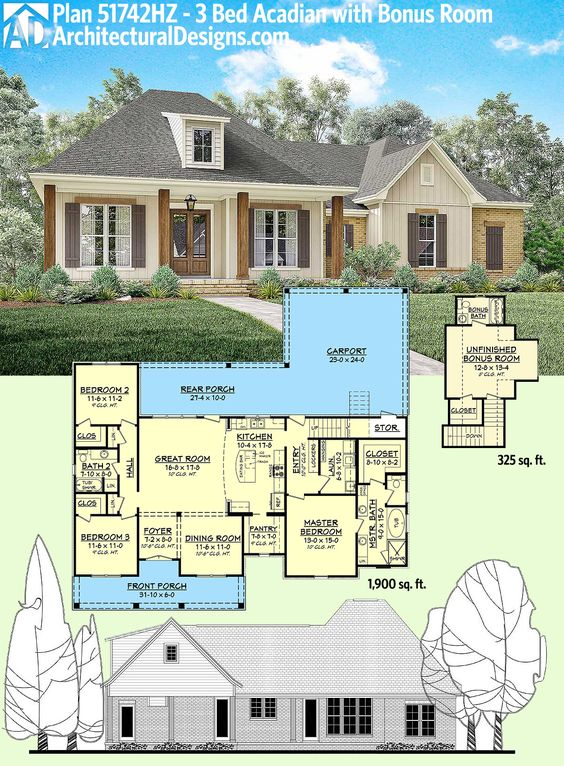 Plan 51742hz 3 Bed Acadian Home Plan With Bonus Over