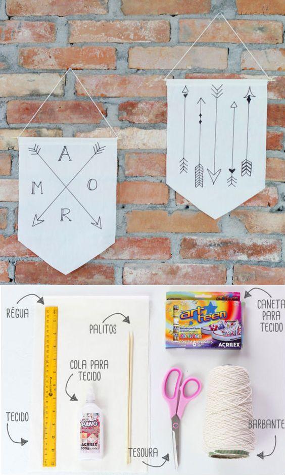 Aprenda a fazer uma bandeirinha para decorar a sua parede. Esse passo a passo é bem simples e qualquer um pode fazer!: