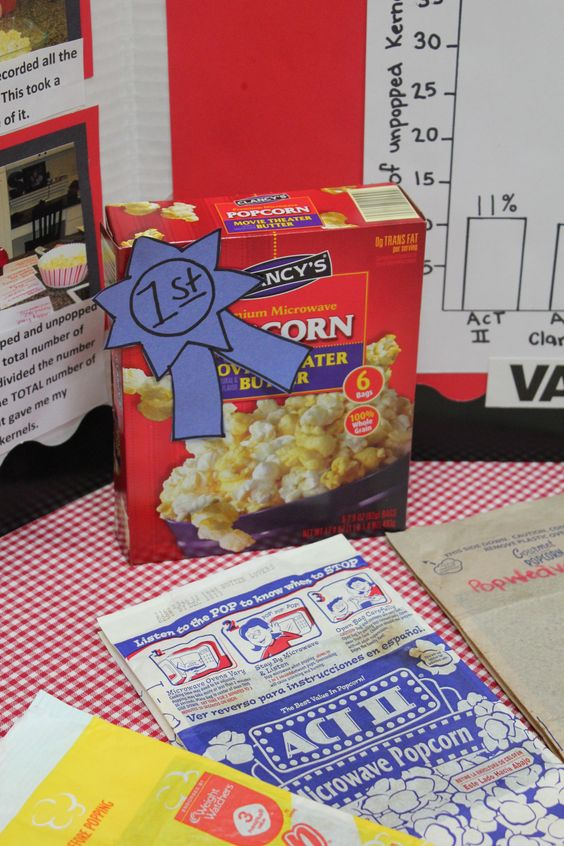 popcorn science fair project Neuroscience for kids - science fair projects seven popcorn experiments are provided on this site including comparison tests for volume,  such as printable student sheets (student reproducibles), student e-sheets (online worksheets that.