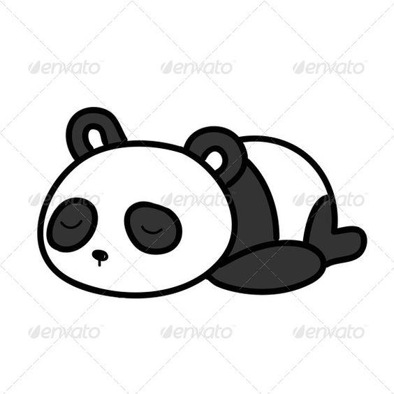 Baby Panda Sleeping Vector Illustration Animal