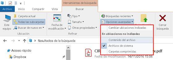 Configurar búsquedas en Windows 10