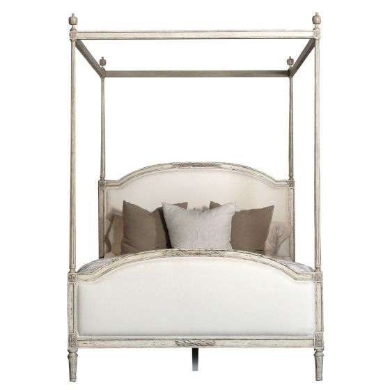Eloquence Dauphine Weathered White Canopy Bed king. Swedish decor inspiration, French and Gustavian Design Style from Eloquence. #swedish #interiordesign #frenchcountry #gustavian #nordic #decoratingideas #whitedecor #eloquence #furniture