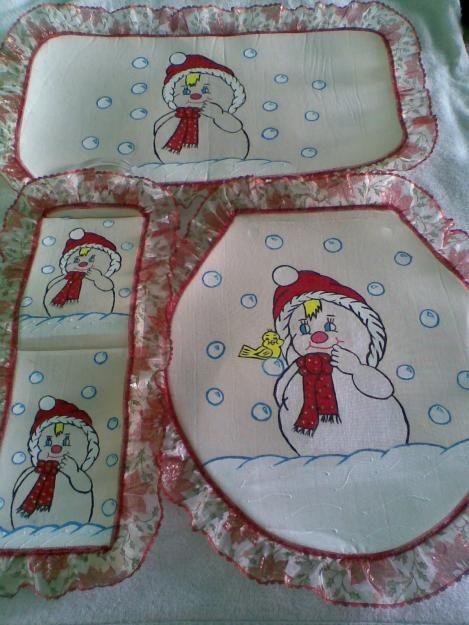 Juego de baño con pintura en tela navideño. | juegos de baño ...
