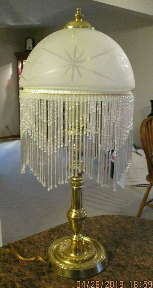 Vintage Victorian Table Lamp Frost Glass Shade Beaded Fringe Night Stand Desk Deco