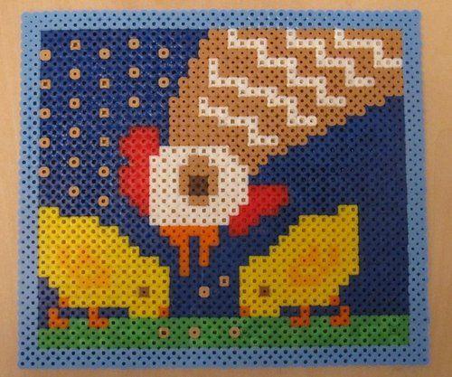 Perler beads chicks and hen