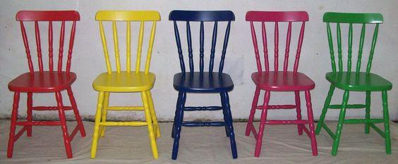 Babalu - Cadeira em Madeira Colorida Aquarela