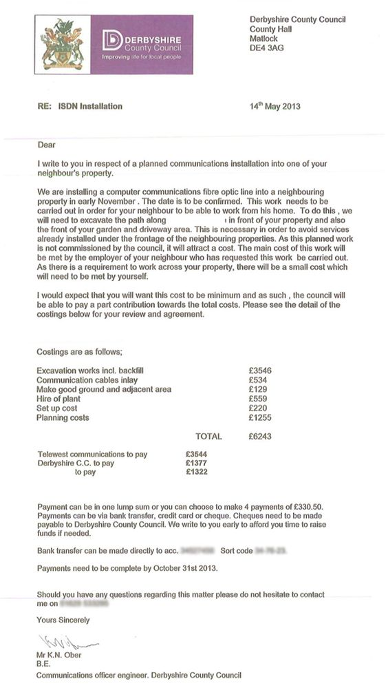 Convincing Scam Letter Demanding Payment For Installation Of A