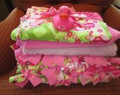 Hand-tied Pink Fleece Blanket With Turtles and Ladybugs 4-Piece Set