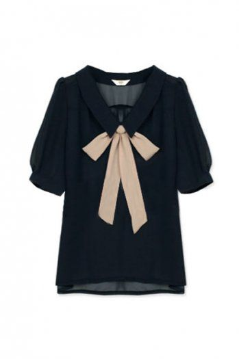 Feminine Bowknot Navy Blue Shirt. ROMWE.$48.99.