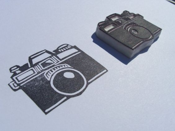 Hand Carved Camera Stamp - SplishySplash Craft