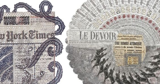 Vendredi 24 janvier, Tragédie de Isle-Verte, 2014. Newspapers cut with x-acto knife, collage. 57 x 56 in. (144.78 x 142.24 cm). Photo courtesy the artist and Division Gallery. Starting with daily covers of the Financial Times, the Gazette, or the New York Times, Montreal-based paper artist Myriam D
