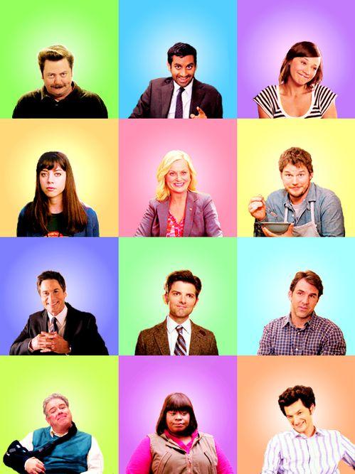 Parks and Recreation. I'm so sad it's ending. :(  Amy Poehler, Chris Pratt, nick Offerman, Rashida Jones, Retta, Aziz Ansari, Aubrey Plaza, Jim o'Heir, Rob Lowe