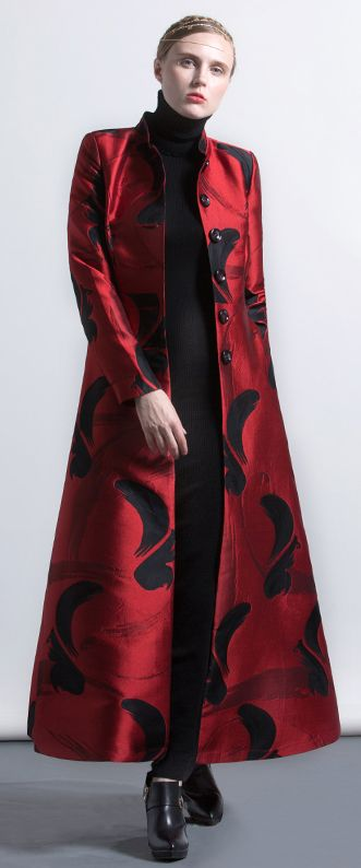 $205.00-red color black floral style blended elegant stand collar jacquard maxi trench coat #coat#trechcoat#maxicoat#omychic