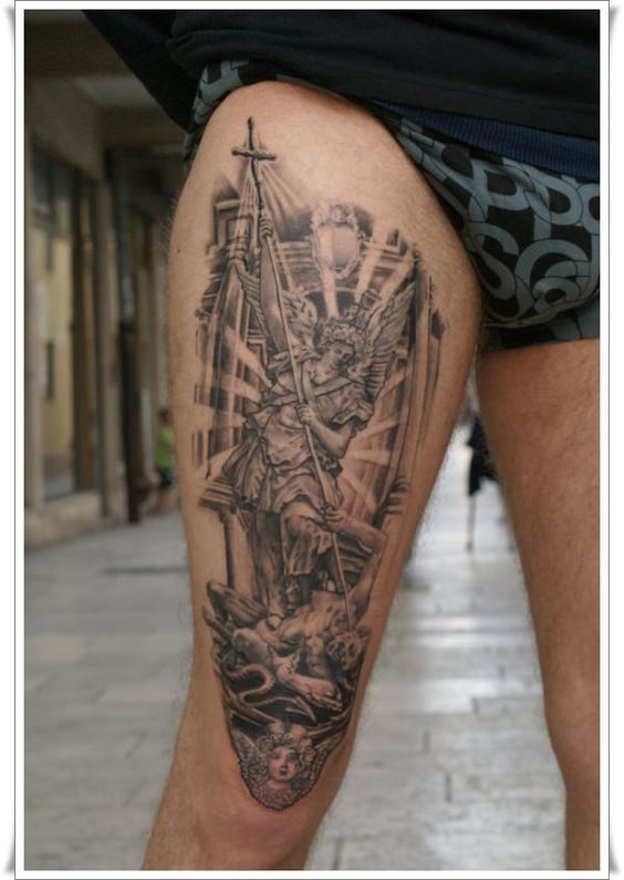 30 powerful tattoos of st michael the archangel tattoo legs tattoos and body art and legs. Black Bedroom Furniture Sets. Home Design Ideas