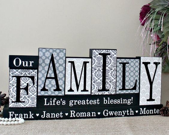 Our Family Personalized Home Decor Blocks - Housewarming Gift - Parents Anniversary Present - Mothers Day Present - Mom Birthday Gift