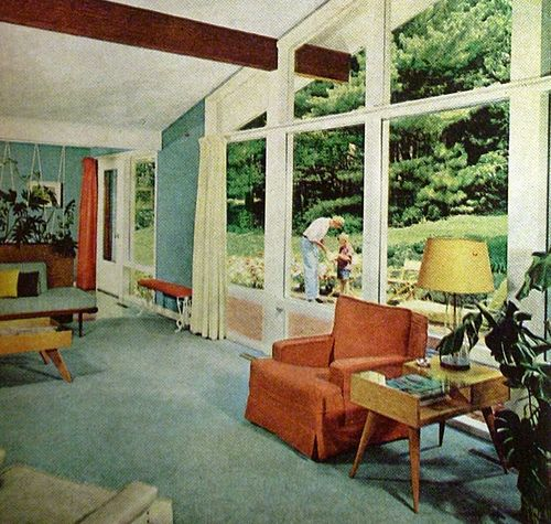 Living room gardens mid century and books