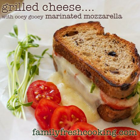 Gourmet Grilled Cheese with Marinated Mozzarella & Tomatoes.