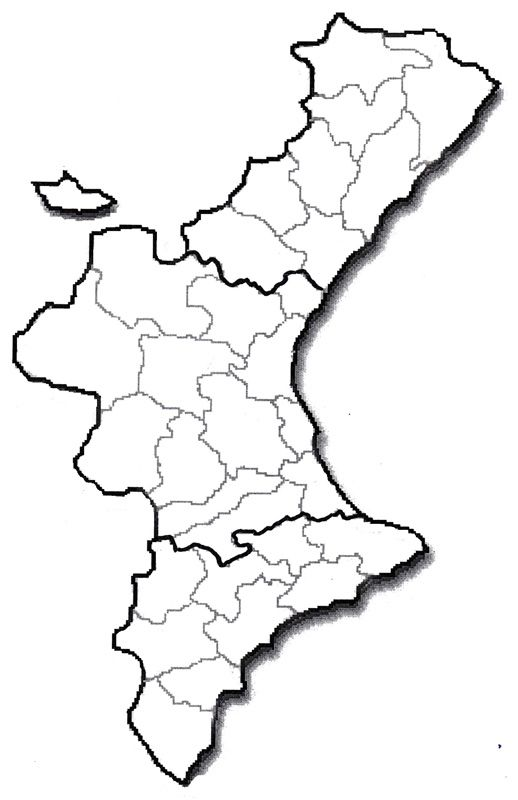Mapa Mudo Comunidad Valenciana.Pin En Mapas