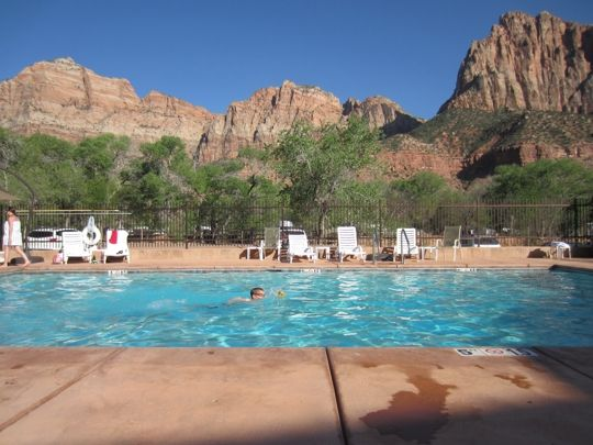 Cable Mountain Lodge next to Zion National Park.  The PERFECT place to swim in a family-friendly hotel!