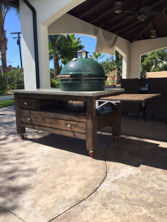 This Beautiful XL Big Green Egg Table Was Built With An