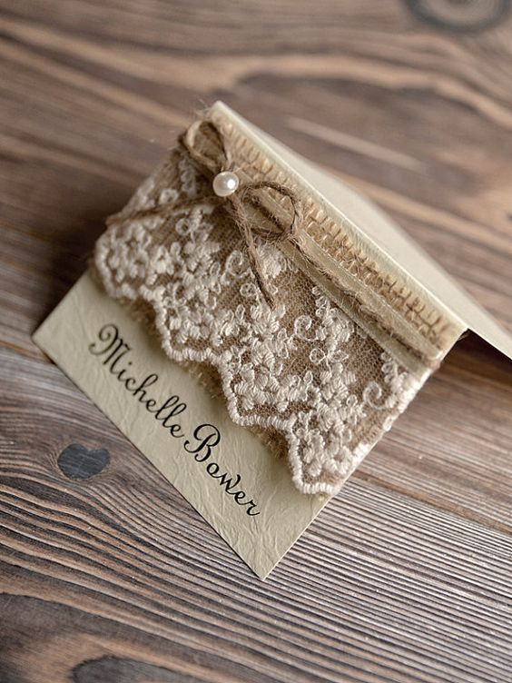 Place Cards Tented Place Cards Lace Escort Card by DecorisWedding, $2.00: