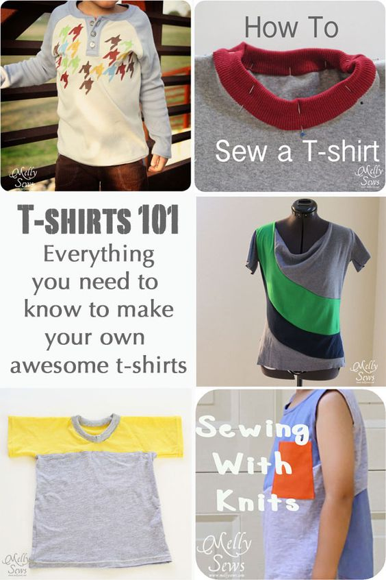 How to make patterns and variations for sewing t-shirts, including links to free t-shirt patterns and tutorials