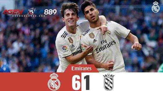 Hasil Pertandingan Real Madrid vs Melilla SKOR AKHIR : 6-1 Gol Real Madrid : Marco Asensio (33′, 35′) Javi Sánchez (39′) Isco (47′) Vinícius Júnior (75′) Gol Melilla : Yacine Qasmi (81′ PEN) Venue : Santiago Bernabeu Kompetisi : 32 Besar Leg 2 Copa Del Rey 2018 Tanggal : Kamis Malam, 06 Desember 2018 Video Cuplikan Gol Real Madrid vs Melilla