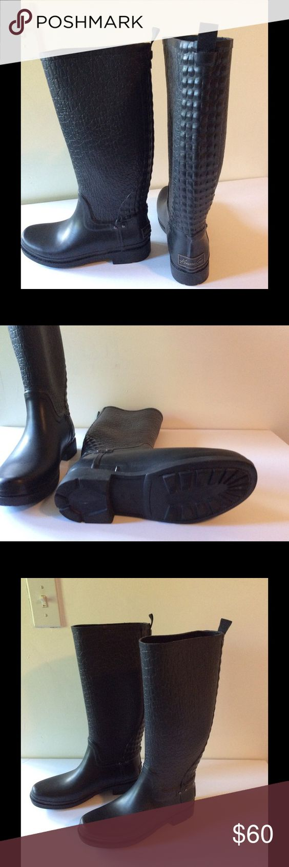 Kenneth Cole 8.5 black rubber boots Worn once! Like new Black Rubber Kenneth Cole Boots. Kenneth Cole Shoes Winter & Rain Boots