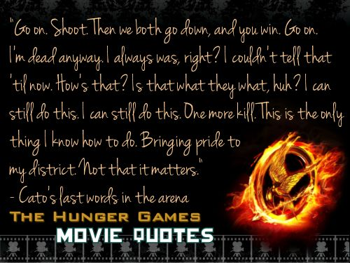 Cato's last words in the arena at the 74th Annual Hunger Games.