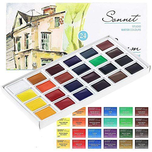 Sonnet Aquarellfarbkasten Set 24 Kraftige Aquarellfarben