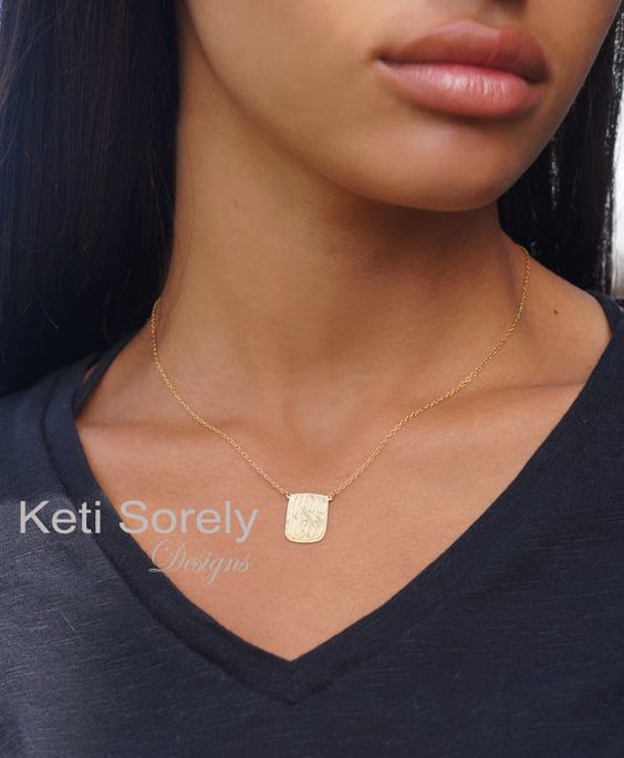 Celebrity Style Hand Engraved Small Rectangle Charm Necklace with Monogrammed Initials - Yellow or Rose Gold With Silver or Gold Filled