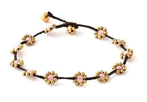 Handmade fashion anklet with small bells and cute flowers