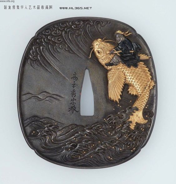 Кинко, едущий на карпе. Эра периода-Мейджи Эдо середина конца 19-го века Tsuba