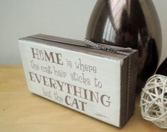 Chunky wooden shelf block, quirky gift for a cat or dog lover