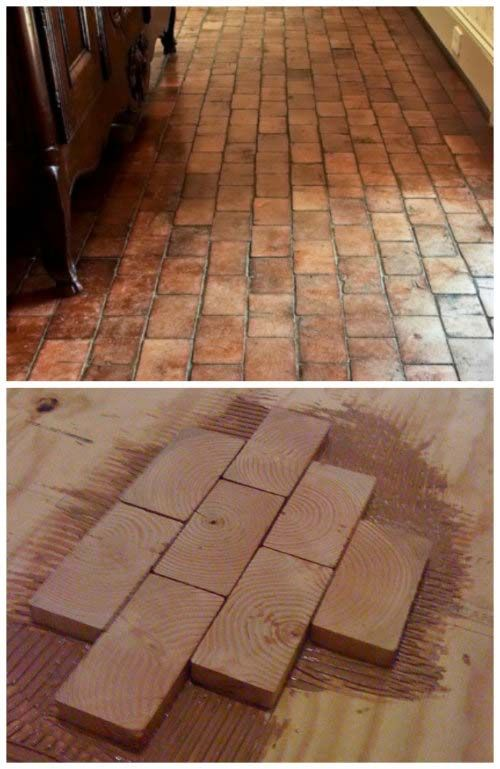 How To Easily Create A Hardwood Floor Using 2x4 Slivers Cheap Hardwood Floors Flooring Wood Block Flooring