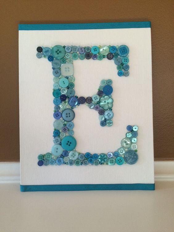 Button Monogram Letter Button Wall Art Button by LibertyWayDesigns