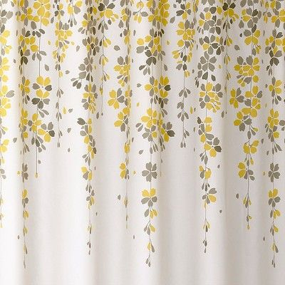Weeping Flower Shower Curtain Yellow Gray Lush Decor Flower