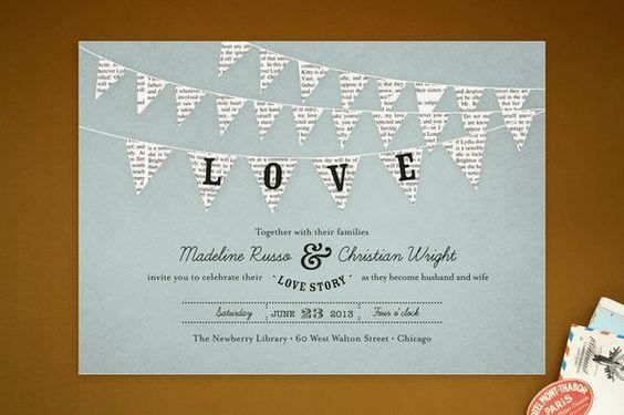 cute!  http://www.weddingbee.com/2012/02/10/whimsical-wedding-invitations-bunting/