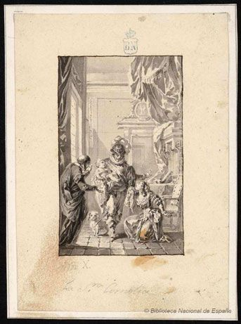 La señora Cornelia     Dessins relatifs à Cervantes / D. Quichotte - Biblioteca Nacional de España - Dibujos - http://cervantes.bne.es/
